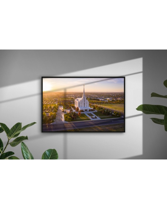 Warmth - Rexburg Idaho Temple (30 x 20 Framed Print)
